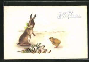AK Joyeuses Pâques, Osterhase und Küken