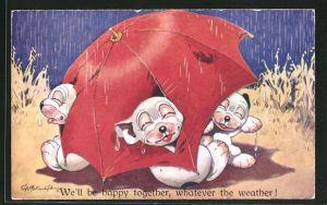 Künstler-AK George Ernest Studdy: Bonzo, We'll be happy together, whatever the weather!, Scherz
