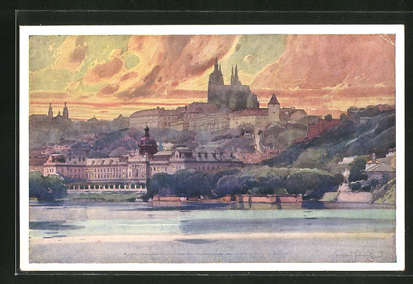 Künstler-AK Jaroslav Setelik: Prag, Strakova Akademie s Pozadim Hradu
