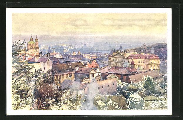 Künstler-AK Jaroslav Setelik: Prag, Pod strahovskou zahradou