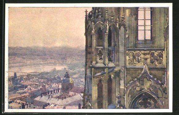 Künstler-AK Jaroslav Setelik: Prag, Blick vom Nordturm der Kathedrale