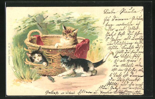 Lithographie drei Kätzchen spielen mit Maus