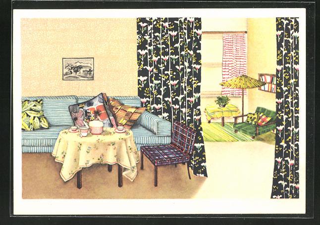 AK Indanthren für das Heim!, Art Deco-Inneneinrichtung