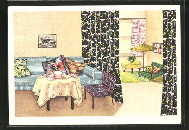 AK Indanthren für das Heim!, Inneneinrichtung, Art Deco