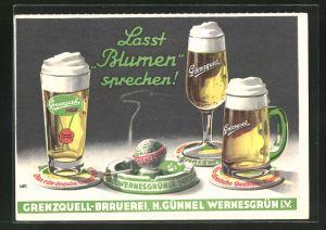 Künstler-AK Grenzquell-Brauerei, H. Günnel Wernesgrün i. V.