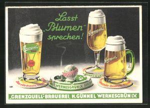 Künstler-AK Lasst Blumen sprechen!, Grenzquell-Brauerei, H. Günnel Wernesgrün i. V.