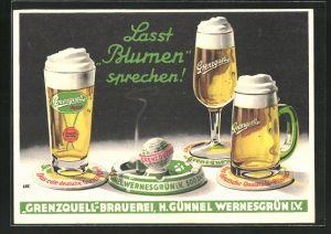 Künstler-AK Grenzquell-Brauerei, H. Günnel Wernesgrün i. V., Lasst Blumen sprechen