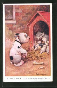 Künstler-AK George Ernest Studdy: Bonzo wird von Katzenmutter angefaucht