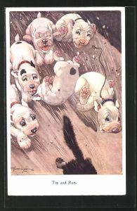 Künstler-AK George Ernest Studdy: Junge Bonzos jagen ein Tier