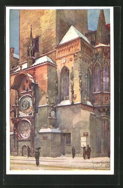Künstler-AK Jaroslav Setelik: Praha / Prag, Narozi staromestske radnice s orlojem