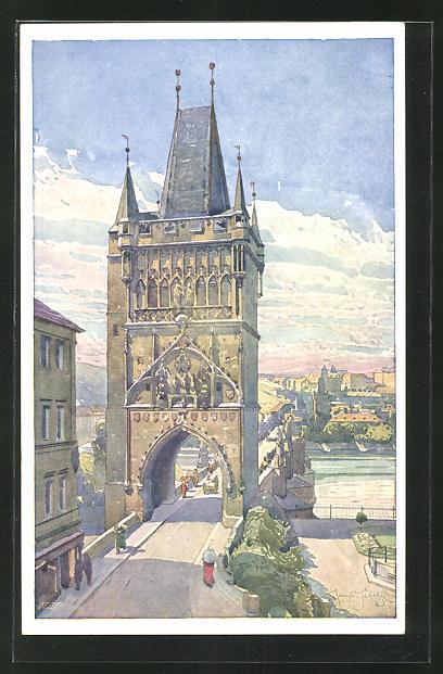 Künstler-AK Jaroslav Setelik: Praha / Prag, Staromestska mostni vez