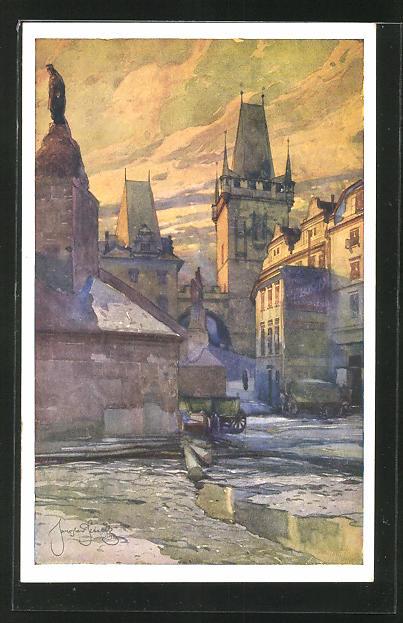 Künstler-AK Jaroslav Setelik: Praha / Prag, Mostni malostranske zakouti