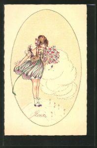 Künstler-AK Erna Maison-Kurt: Mädchen im Kleid mit Blumenstrauss