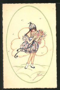 Künstler-AK Erna Maison-Kurt: Mädchen im Kleid mit Haube und Blumenstrauss