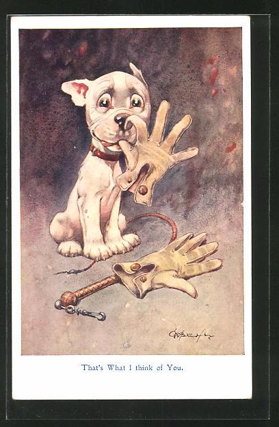 Künstler-AK George Ernest Studdy: Bonzo frisst einen Handschuh