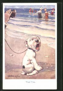 Künstler-AK George Ernest Studdy: Müder Bonzo am Strand