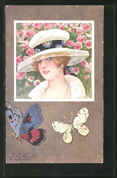 Künstler-AK E. Colombo: Elegante Dame mit Hut, Schmetterlinge
