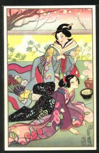 Künstler-AK Carlo Chiostri: Geishas in bunten Kimonos in einem Garten