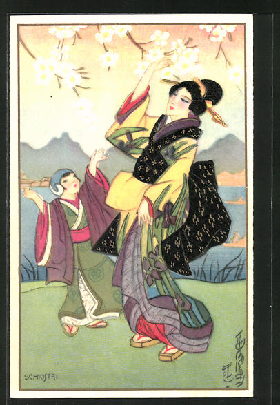 Künstler-AK Carlo Chiostri: Geishas in Kimonos freuen sich an blühenden Bäumen