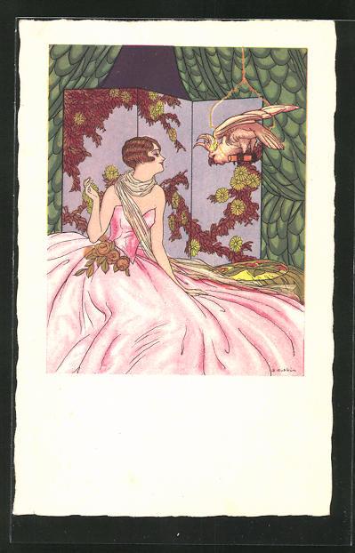 Künstler-AK Dario Gobbi: Bezaubernde Dame mit einem Kakadu, Art Deco