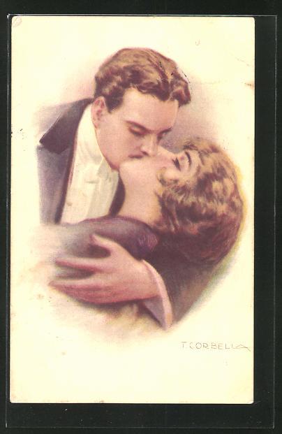 Künstler-AK Tito Corbella: Liebespaar beim innigen Kuss