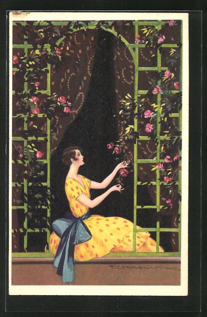 Künstler-AK Tito Corbella: Junge Frau am Fenster pflückt eine rote Rose