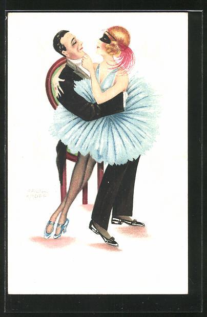 Künstler-AK sign. Paul Kropp: maskierte Frau sitzt auf dem Schoss eines Mannes, Art Deco