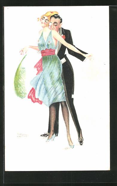 Künstler-AK sign. Paul Kropp: Mann und Frau bei einem Tanz, Mann küsst die Schulter der Frau, Art Deco
