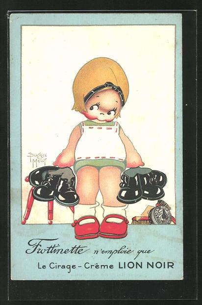 Künstler-AK Beatrice Mallet: Mädchen mit glänzenden Schuhen, Reklame für Le Cirafe-Crème Lion Noir