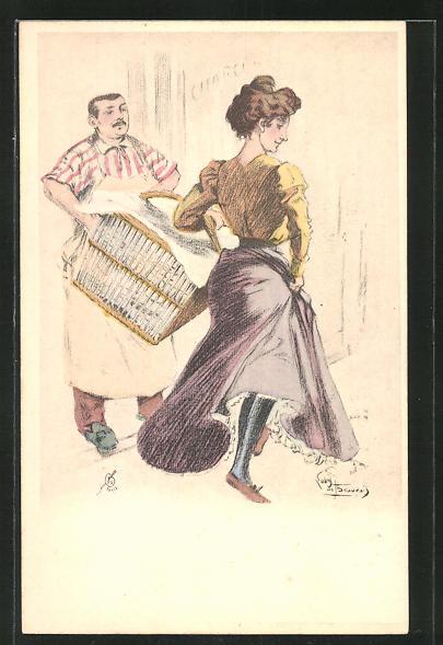 Künstler-AK sign. S. de Beauvais: schöne Frau läuft mit einem riesigen Wäschekorb an einem Mann vorbei