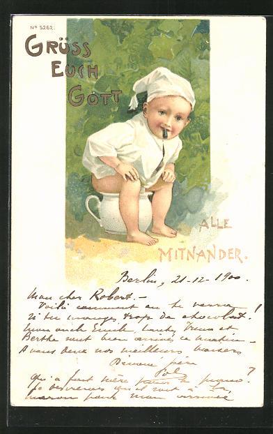 AK Kind beim Töpfen-Training, Toilettenhumor