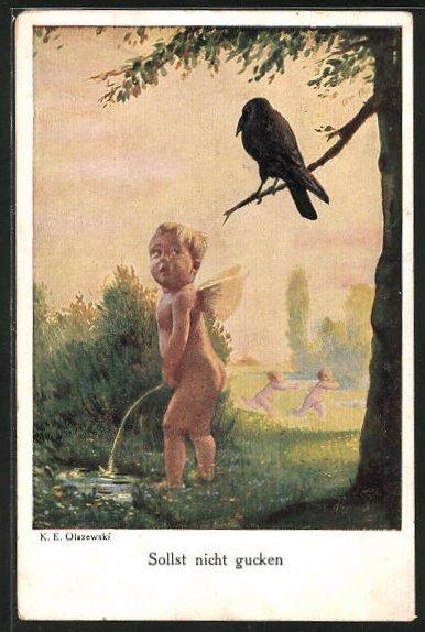AK Sollst nicht gucken, kleiner Engel pinkelt in einen Teich und wird von einer Krähe beobachtet, Toilettenhumor