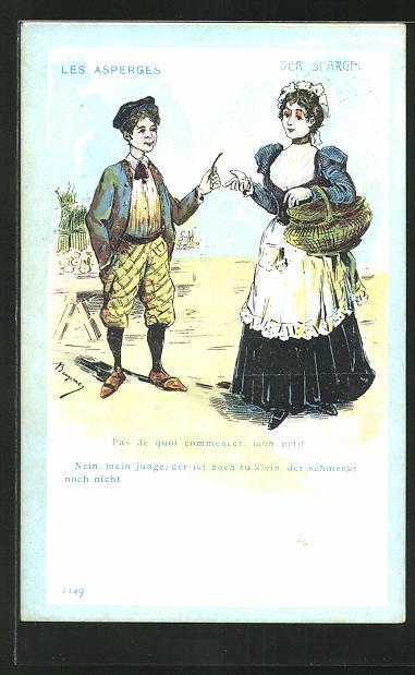 AK der Spargel, Nein, mein Junge, der ist noch zu klein..., Junge zeigt einer Frau seinen Spargel, Erotik