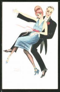 Künstler-AK sign. Paul Kropp: Mann und Frau beim Paartanz, Art Deco