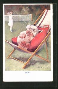 Künstler-AK George Ernest Studdy: Deuce, Bonzo bekommt Tennisball in's Auge