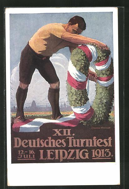 Künstler-AK Gustav Krasselt: Leipzig, XII. Deutsches Turnfest 1913, Der Festkranz, Athlet