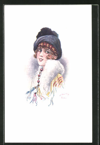 Künstler-AK sign. C. Santini: Les Midinettes, junge Frau mit Hut