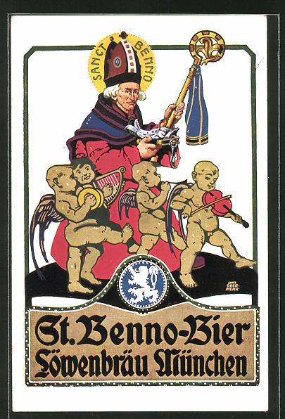 Künstler-AK Otto Obermeier: Löwenbräu München, St. Benno-Bier