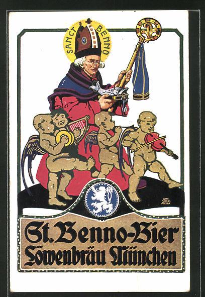 Künstler-AK Otto Obermeier: St. Benno-Bier, Löwenbräu München