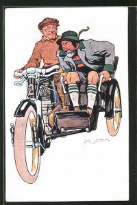 Künstler-AK sign. K. John: Motorrad mit Seitenwagen
