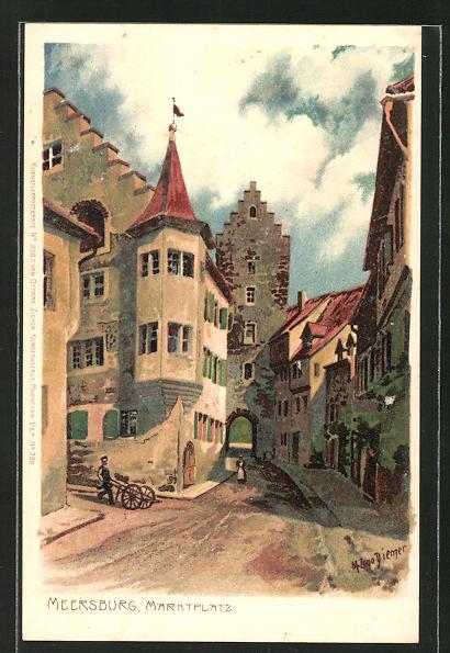 Künstler-Lithographie Zeno Diemer: Meersburg, Marktplatz