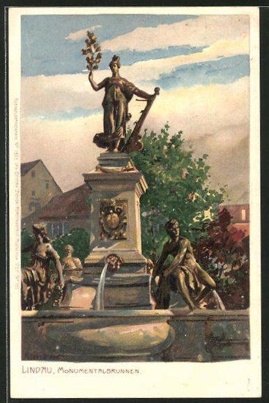Künstler-Lithographie Zeno Diemer: Lindau, Monumentalbrunnen