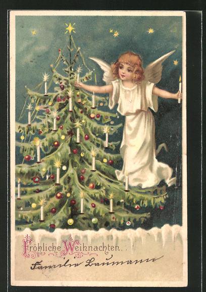 Lithographie Fröhliche Weihnachten, Weihnachtsengel dekoriert Christbaum