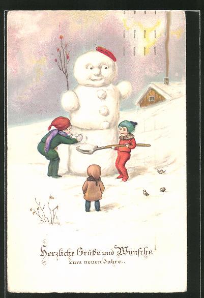 AK Grüsse und Wünsche zum neuen Jahre, Kinder bauen Schneemann Nr ...