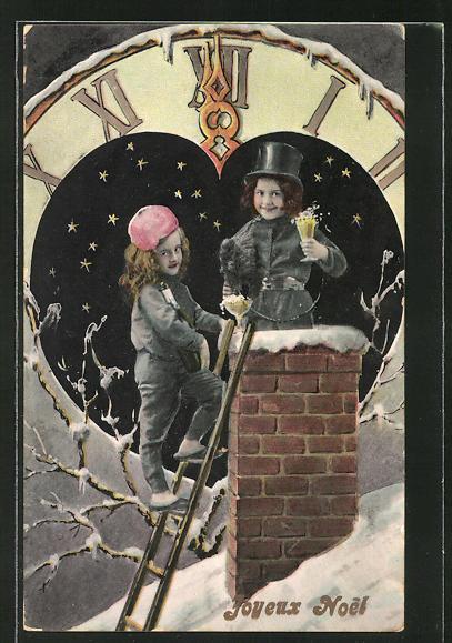 AK Joyeux Noel, kleiner Schornsteinfeger vor Uhr