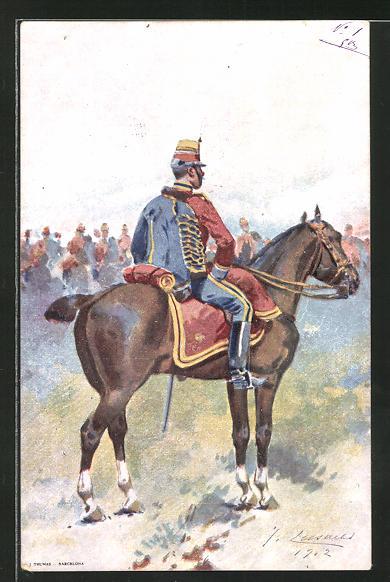 Künstler-AK Spanischer Kavallerist in Gala-Uniform