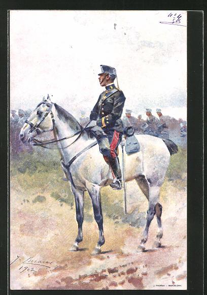 Künstler-AK Spanischer Kavallerist in Uniform, seitliche Ansicht