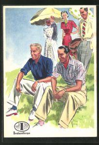 AK Reklame für Indanthrenfarbige Kleidung, Männer in sommerlicher Kleidung