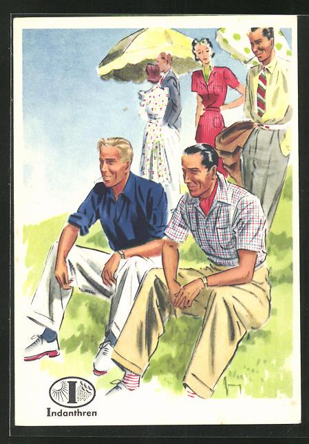 AK Reklame für Indanthrenfarbige Kleidung, Männer in sommerlicher Kleidung bei einem Ausflug