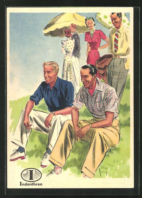 AK Reklame für Indanthrenfarbige Kleidung, Männer in sommerlichen Hosen und Hemden